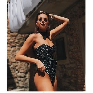 Onia x weworewhat black daisy one piece swimsuit S